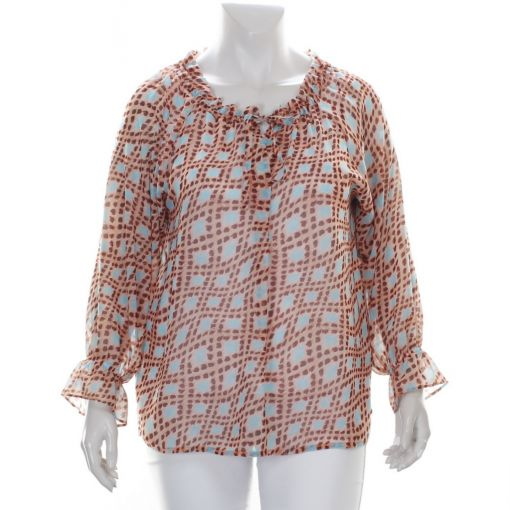 Que viscose blouse met blauw roze print