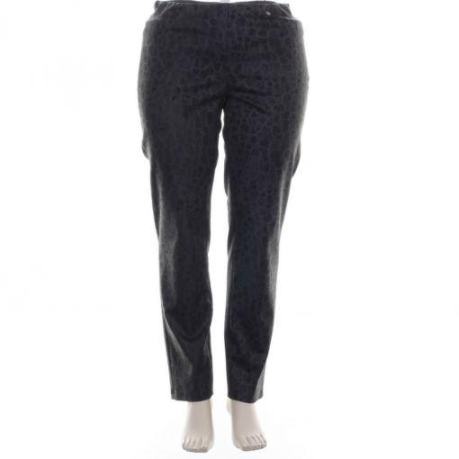 Robell donkergrijze broek met blauw bruine print model Bella