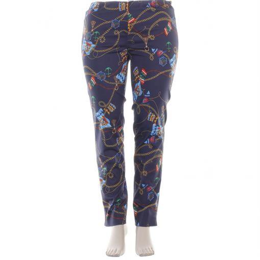 Robell blauwe slimfit broek met nautische print