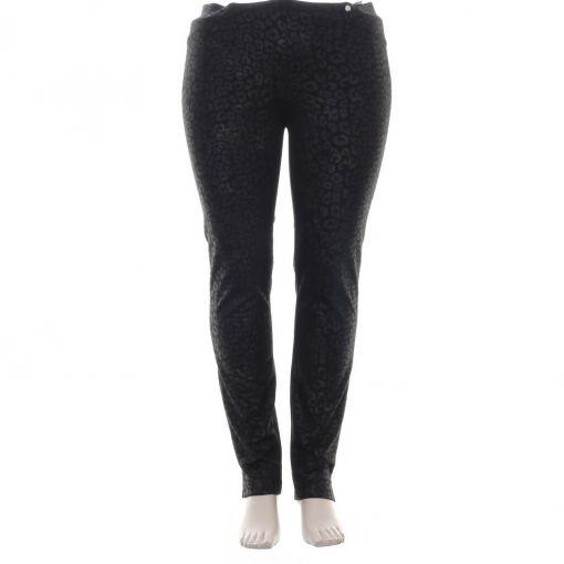 Robell zwarte panterprint broek met koperen glans