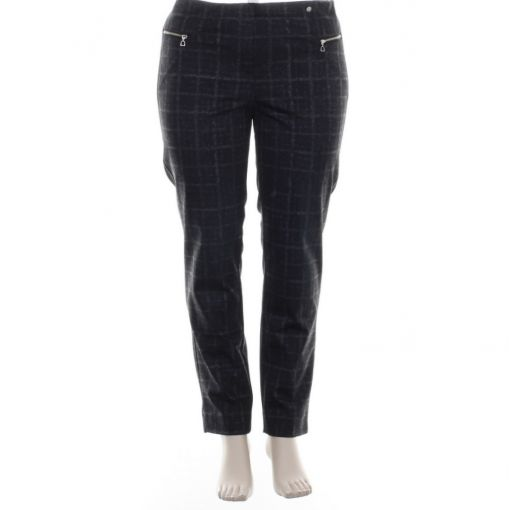 Robell zwart grijs geruite broek model Mimi