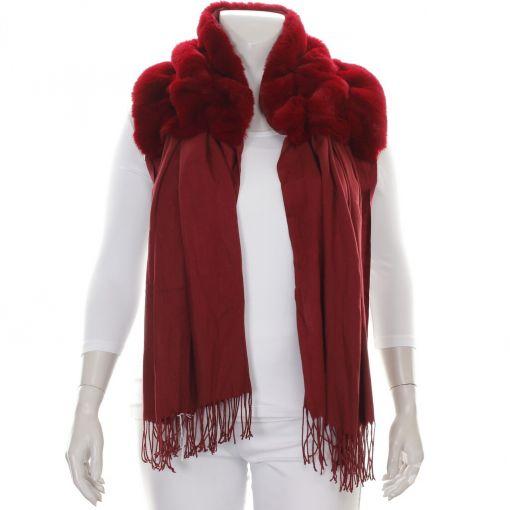 Rode shawl met imitatiebont