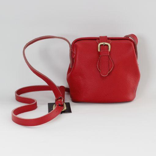 Rood leren schoudertasje met verstelbaar hengsel met gesp