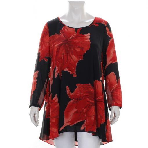 Yoek zwarte blouse met grote rode bloemen