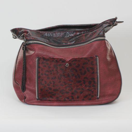 Rood zwarte tas met panter print