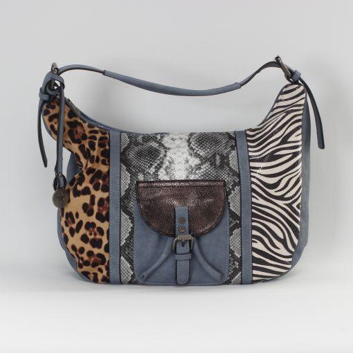 Blauwe ruime schoudertas met zebra slang en panterprint