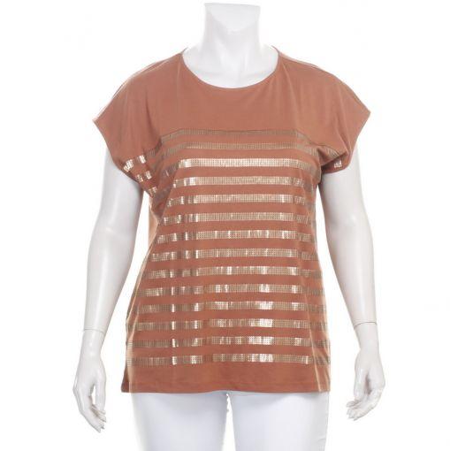 Via Appia koperkleurig shirt met pailletjes