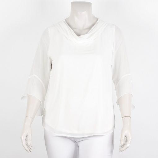 Seidel blouse roomwit voile stof