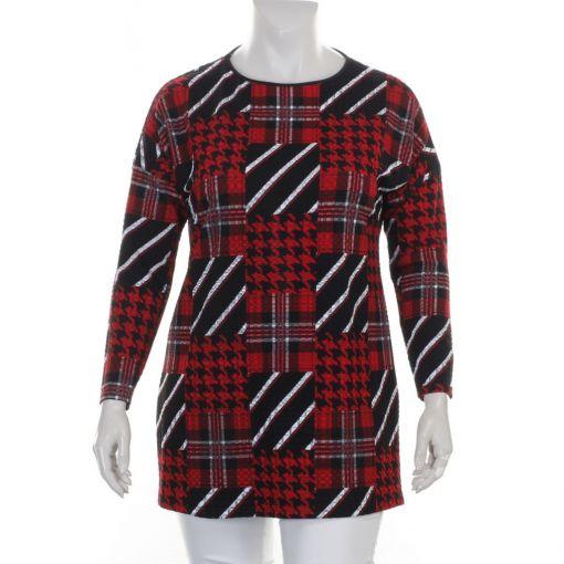 Seidel Moden tuniek met zwart rood witte prints
