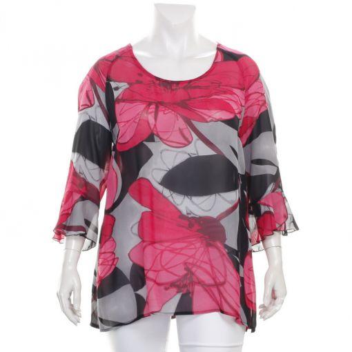 Sempre Piu blouse met roze grijs zwarte print