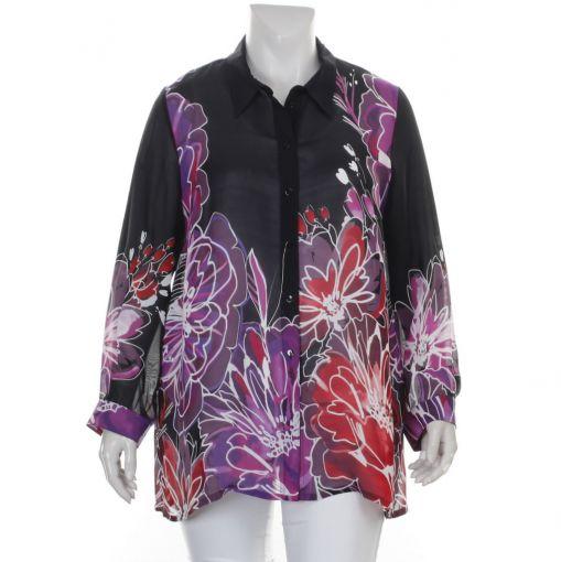 Sempre-Piu zwarte viscose blouse roze rode bloemprint