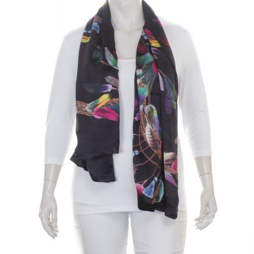 Dubbele zijden shawl zwart met kleurrijke veren