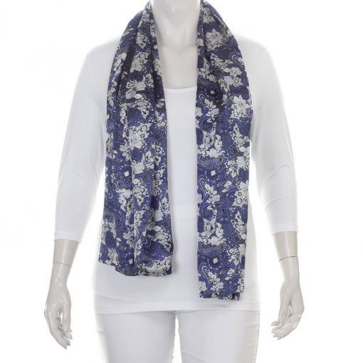 Dubbele zijden shawl blauw met zilvergrijze zwarte print