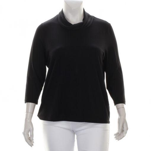 Erfo zwart shirt met voile kraag