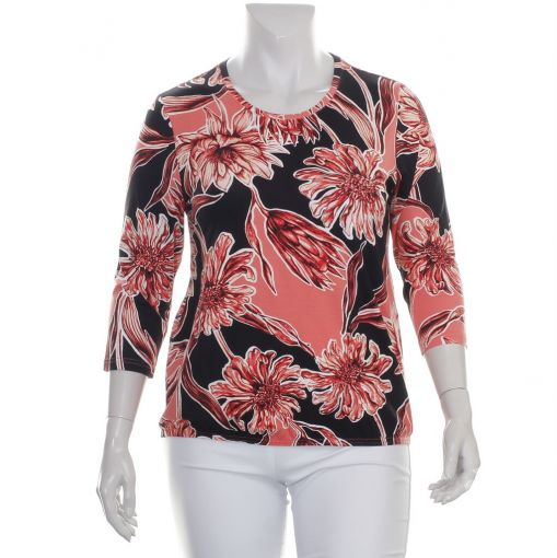 Signature zwart roze shirt met bloemenprint