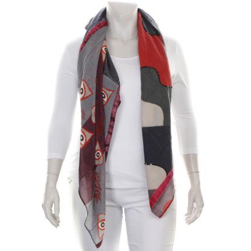 Solito shawl grijs rood met oogjes