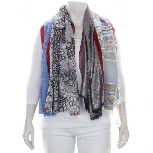 Solito shawl grijs zwarte panterprint en blauw