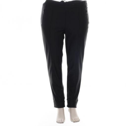 Stark zwarte slimfit broek met opgestikte naad S-Janna