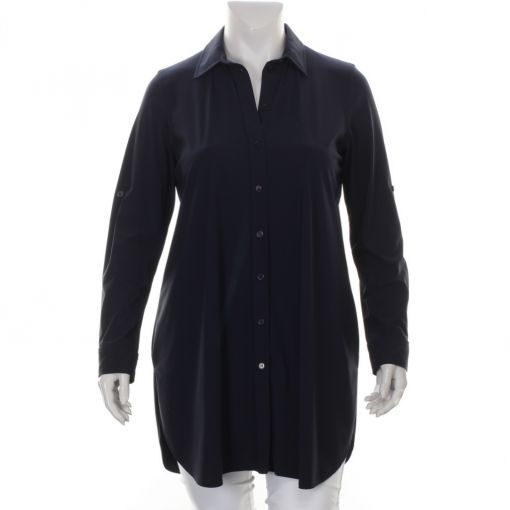 Plus Basics lange blauwe blouse
