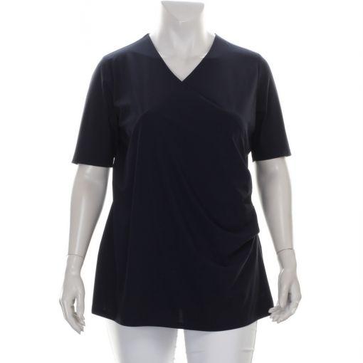 Plusbasics donkerblauw travelstof shirt met overslag