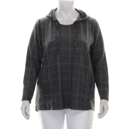 Aprico grijs gemeleerde pullover met zandkleurige geruite print