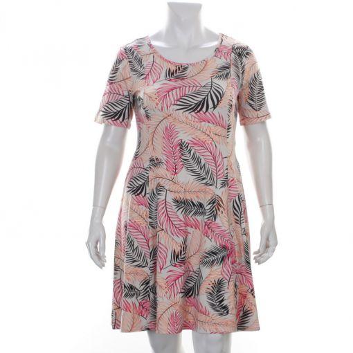 Signature beige jurk met zwart roze bladprint