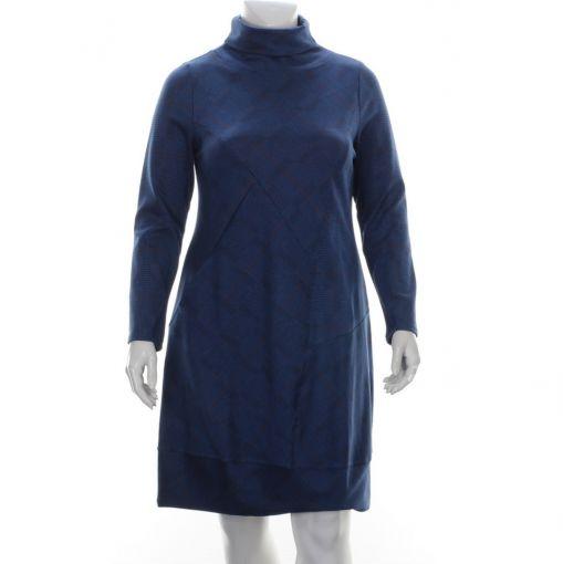 Vetono petrol jurk met rood donkerblauwe print