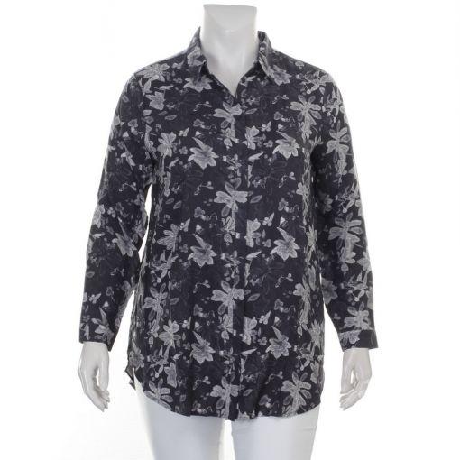 Karnter zwarte blouse met grijs witte print