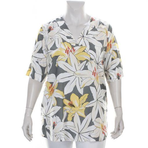 KJ-Brand blouse grijsgroen met ecru gele bloemenprint