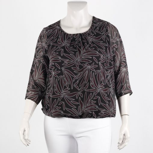 Signature blouse zwart met wit paarse gestipte print