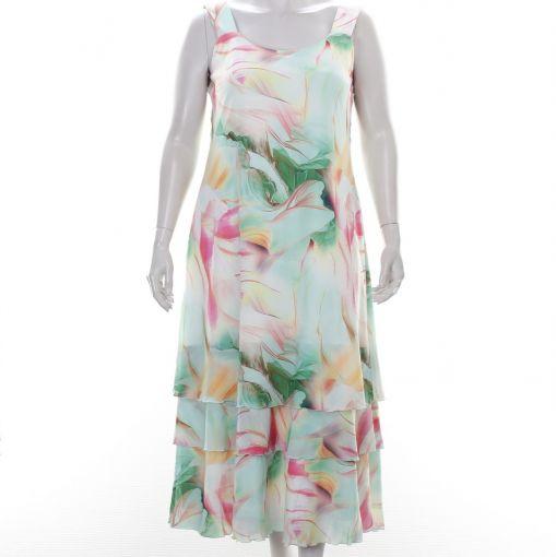 Georgedé jurk mingroen roze  gele print