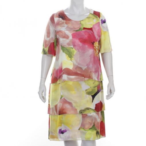 Elinette jurk met kleurrijke aquarelprint