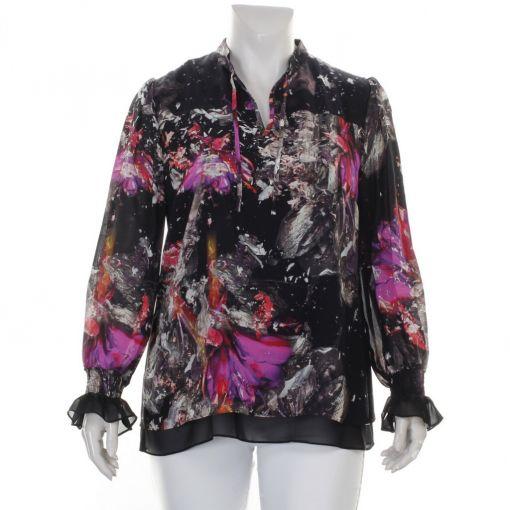 Kirsten Krog Design blouse zwart paars grijze print