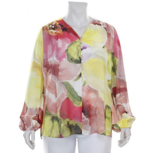 Elinette voile blouse met aquarelprint