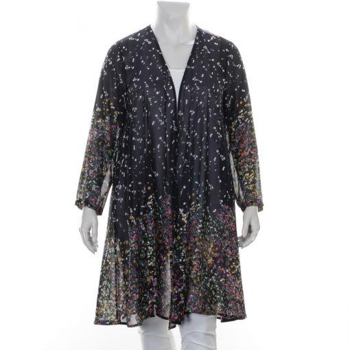 Yoek voile zwarte blouse met kleurrijke bloemenprint