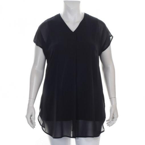 Doris Streich zwarte blouse met voile stof