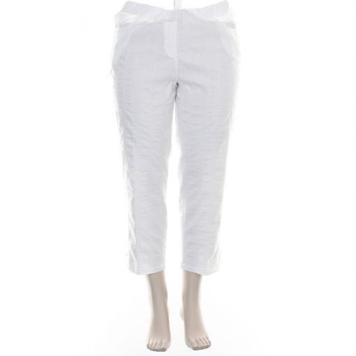 KJ Brand witte enkellange broek met sierstiksels model Susie