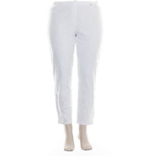 Robell witte slimfit broek met reliefprint