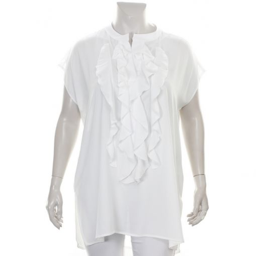 Only-M roomwitte voile blouse met roezel