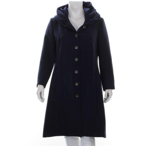 Only-M lange blauwe jas met capuchon