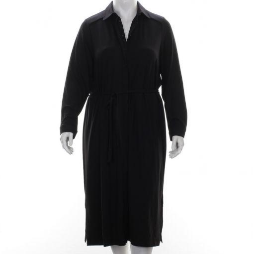 Yesta zwarte jurk met blinde knoopsluiting