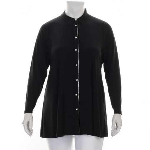 Yoek zwarte blouse met parels en strass