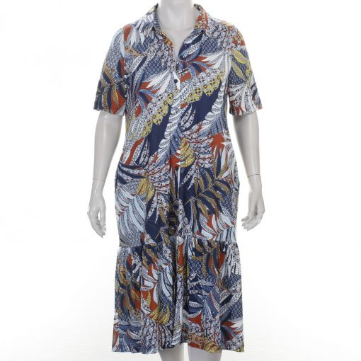 Yoek maxi jurk met oker blauw bruine batik print
