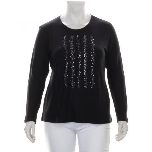 Karntner zwart shirt met glinsterende studs