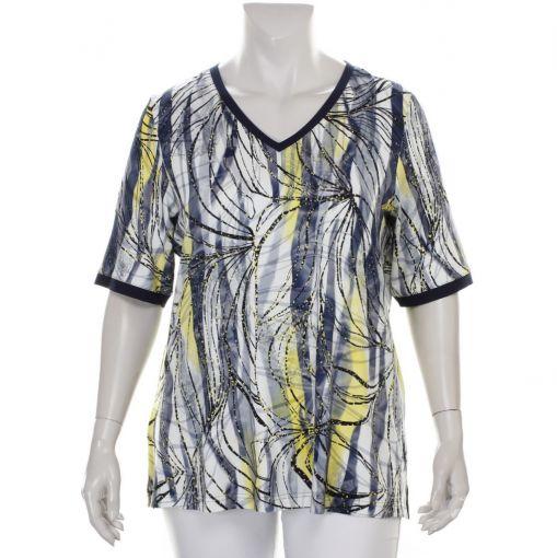 KJ Brand shirt geel blauw zwarte print