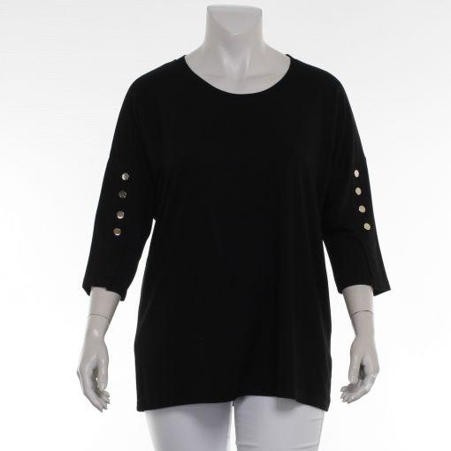 Doris Streich zwart shirt met zilverkleurige knoppen