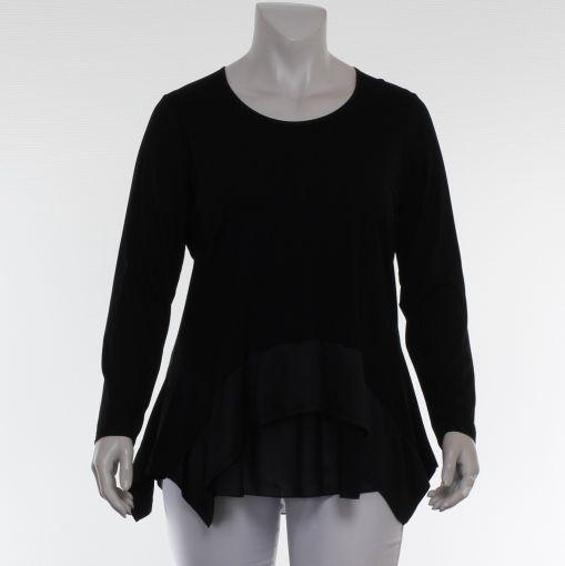 Q-neel luxe zwart shirt met voile stof en satijnen look