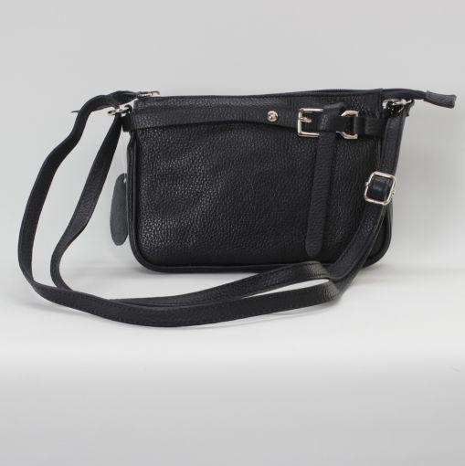 Zwart leren handtas met siergesp