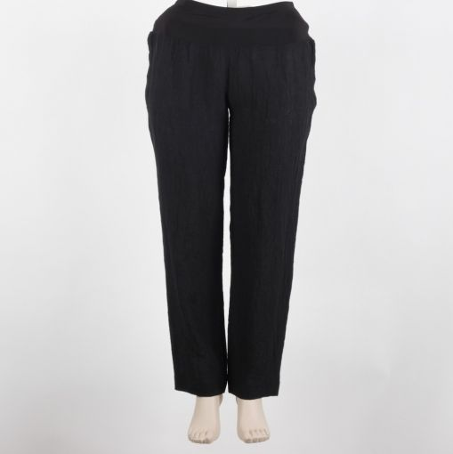Carleoni pantalon zwart linnen smal model