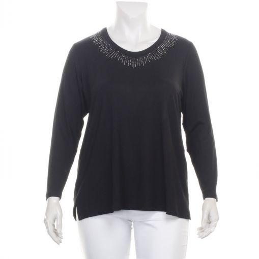 KJ Brand zwart shirt met glimmende studs rond de hals